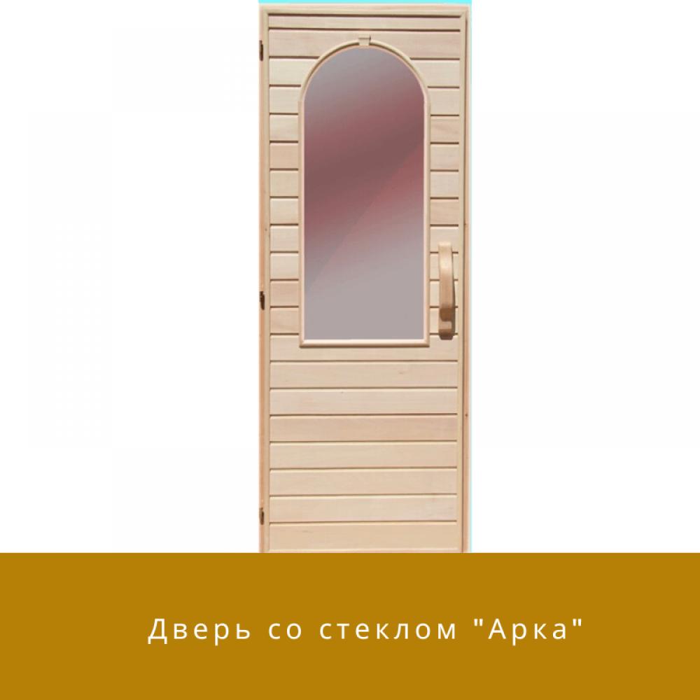 """Дверь из липы со стеклом """"Арка"""""""