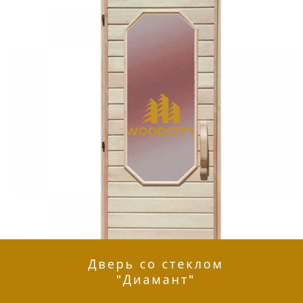 """Дверь из липы со стеклом """"Диамант"""""""