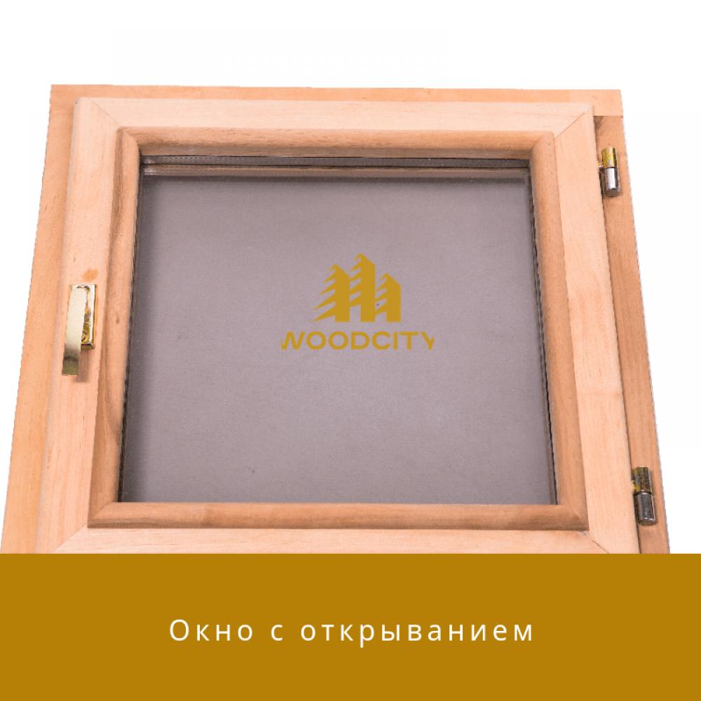 Окно для бани с открыванием стеклопакет Ольха