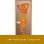 """Дверь стеклянная """"Бронза с рисунком"""" 8мм Ольха"""