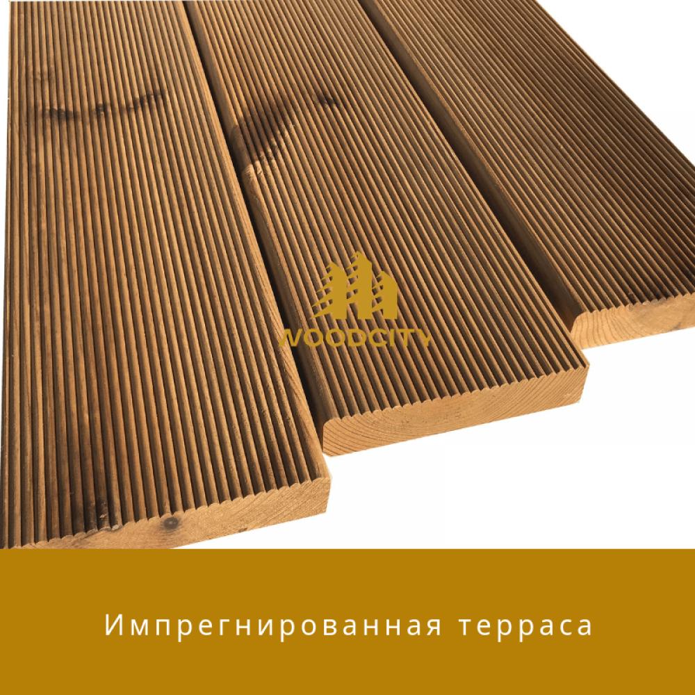 Террасная доска Импрегнированная древесина сорт А-В 32 мм